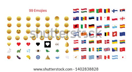99 Emojis Set Isolated On White Background. Social Media Emojis And Flags Symbol Modern Simple Vector Icon For Website And Mobile App