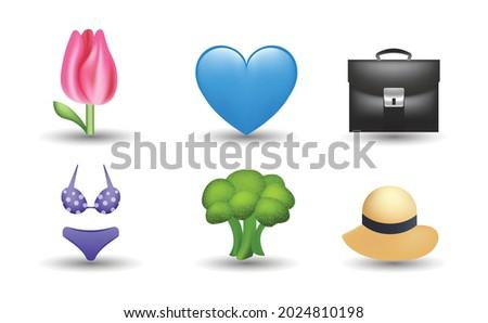 6 emoticon isolated on white