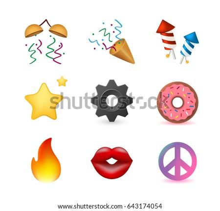 9 Emoticon on White Background. Isolated Vector Illustration