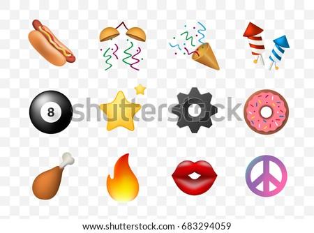 12 Emoticon on White Background. Isolated Vector Illustration