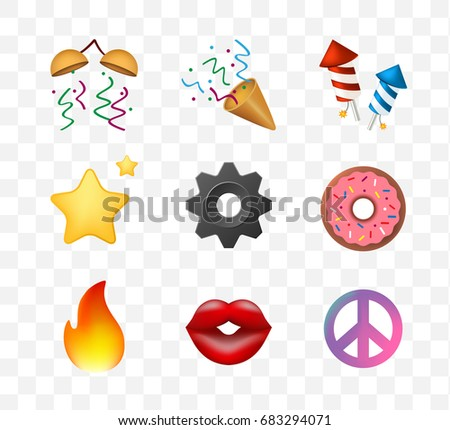 9 Emoticon on White Background. Isolated Vector Illustration