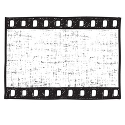 Empty film strip frame hand drawn doodle style,  vector.  Movie dirty background.