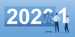 2020 End, 2021 new year, concept banner. Male worker paints over number 0, and assistant carries number 1. Funny characters in trendy style. Flat vector illustration