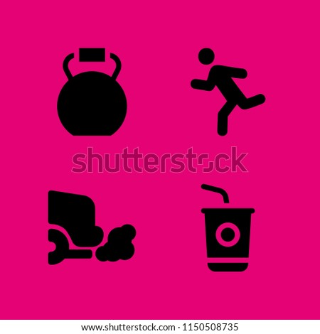 4 energy icons in vector set. run, gas, kettlebells and sugar illustration for web and graphic design