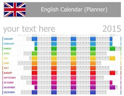 2015 English Planner Calendar with Horizontal Months on white background