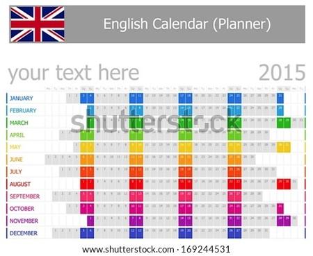 horizontal calendar 2015