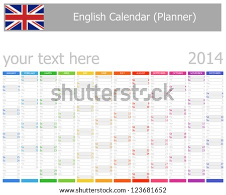 2014 English Planner Calendar with Vertical Months Сток-фото ©
