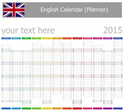 2015 English Planner-2 Calendar with Vertical Months on white background