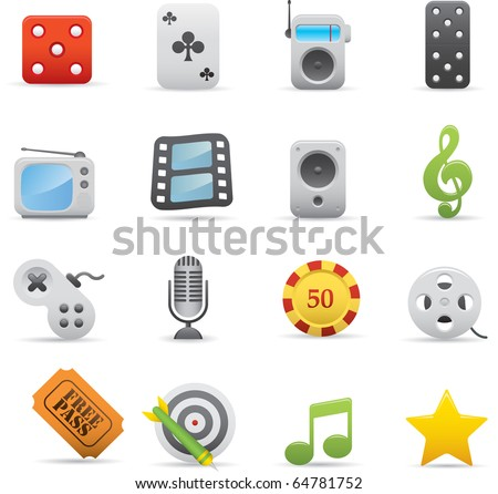03 Entertainment Icons Professional vector set for your website, application, or presentation. The graphics can easily be edited color individually and be scaled to any size