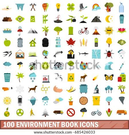 100 environment book icons set