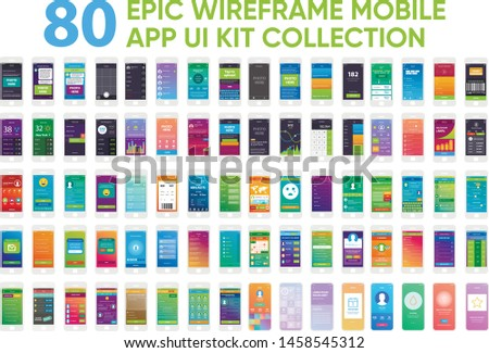80 Epic Wireframe Mobile App UI Kit Collection Screens Prototype Templates.