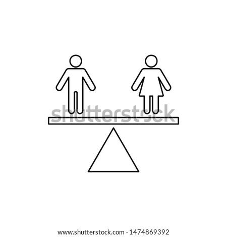 Equality Gender Icon. Equal Rights  Illustration As A Simple Vector Sign & Trendy Symbol for Design,  Websites, Presentation or Mobile Application.