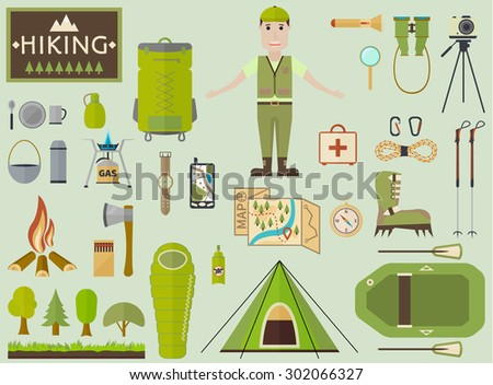 Equipment and accessories for hiking, tourism, and outdoor recreation.Elements in flat style for info-graphic.