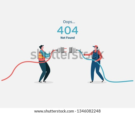 404 error page not found System updates, uploading, operation, computing,installation programs. system maintenance. Flat vector illustration modern character design. For a landing page, web p