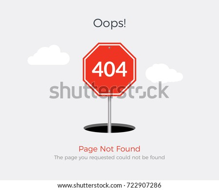 404 error page template for website. 404 alert flat design.