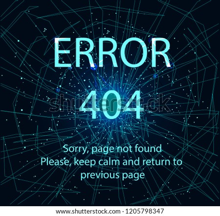 Stock Photo 404 error page, vector template. Abstract image in the form of a starry sky or space, consisting of points, lines, and shapes in the form of planets, stars and the universe. Cracked screen