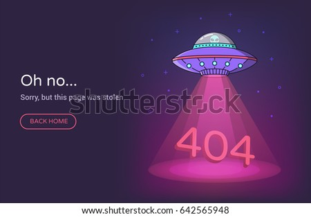 404 error page vector template for website. Ufo spaceship with beam of light on starry sky background