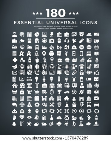 180 essential icons -computer, technology, business, bank, buildings, arrows, logistics, sport,  office, shopping, beauty, weather, food.