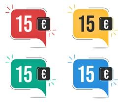 €15 euro price. Yellow, red, blue and green currency tags. Balloon concept with fifteen euros for sales.