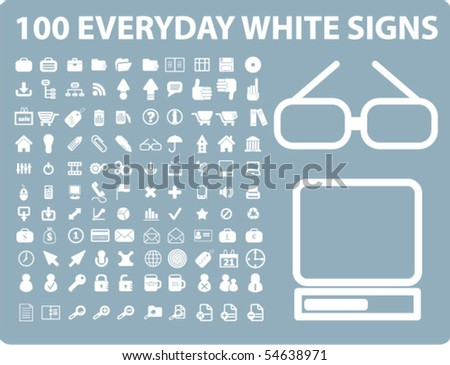 100 everyday white signs. vector