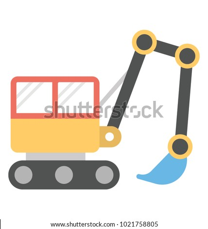 stock-vector--excavator-a-construction-vehicle-vector-icon-in-flat-design