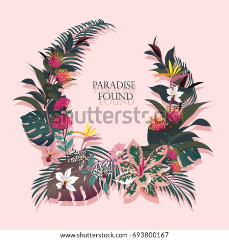 .Exotic Dark vector tropical background with green palm leaves and flowers in summer forest design