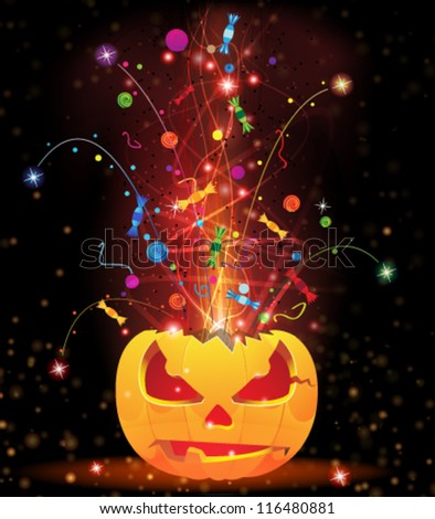 Exploding Jack O'Lantern with sparks, candy and confetti. Halloween fireworks