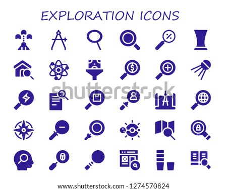 exploration icon set. 30 filled exploration icons. Simple modern icons about  - Spaceship, Compass, Zoom, Magnifying glass, Glass, Search, Solar system, Funnel, Sputnik, Windrose