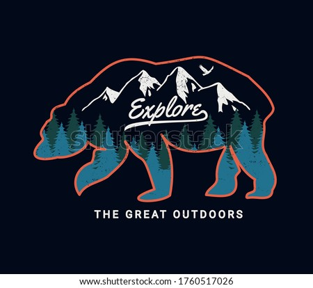 'Explore the great outdoors' vector bear badge. For t-shirt prints, posters, stickers and other uses.