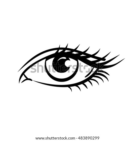 Eye on white background. Woman eye. The eye logo. Eyes art. Human eye, eye close up - vector