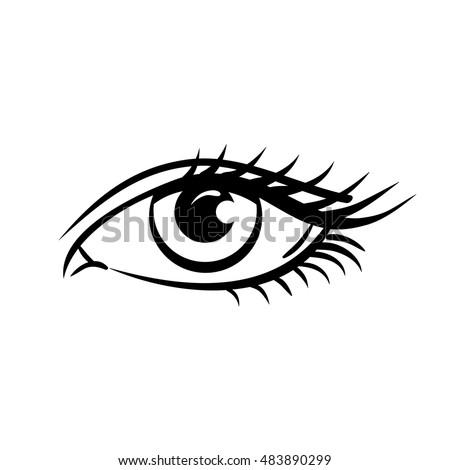 eye on white background woman
