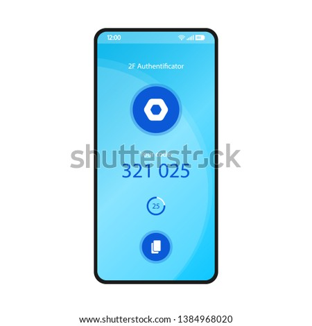 2F authenticator smartphone interface vector template. Mobile security app page blue design layout. Multi factor authentication screen. Flat UI for application. Device protection. Phone display