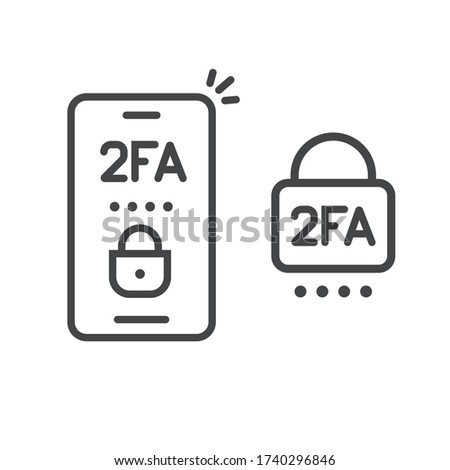 2fa icon line password secure login authentication verification vector outline art or sms push code messages symbol on smartphone mobile phone isolated pictogram, two factor or multi factor cellphone Foto stock ©