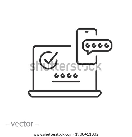 2fa multifactor verification icon, two factor authentication, online password verify, code login on laptop from mobile, secure message in  phone, thin line symbol on white background - editable stroke Foto stock ©