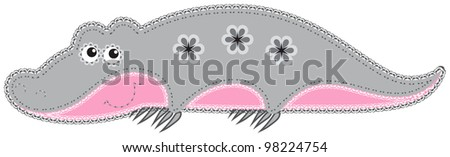 Fabric animal cutout. Crocodile. Cute animal character in decorative style on white background