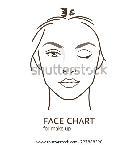 Face chart  template for make up.   Line style vector illustration.