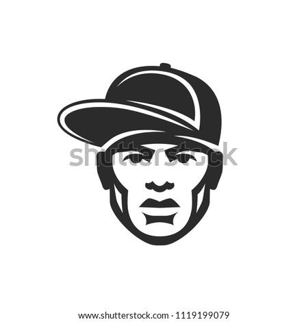 Face rapper man in a cap. Hip Hop icon