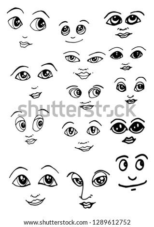 faces black and white isolated image vector #1289612752