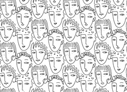 Faces of people  seamless pattern. Model Women, Fashion girl background. Hand drawn vector illustration.