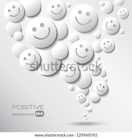 Faces with Smile. Positive Abstract Background with emoji. Smileys in Motion.