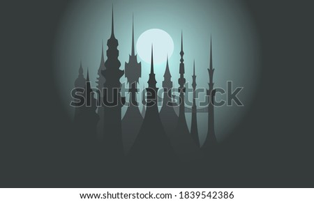 fairytale towers lit by the
