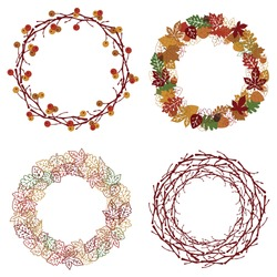 4 Fall Wreaths with Different Colors, Textures, and Elements