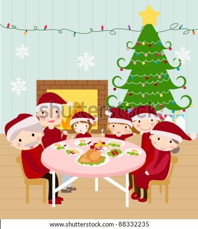 family having christmas dinner happily