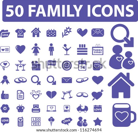 50 family icons set, vector