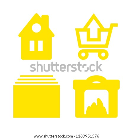 4 family icons with substracting of shopping cart and fireplace in this set