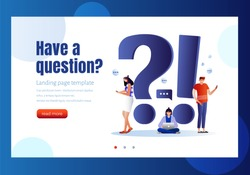 FAQ and Q&A vector illustration concept, people asking to online support center via smartphone and laptop, can use for landing page template, ui, web, mobile app, poster, banner, flyer. Characters