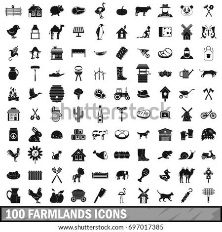 100 farmlands icons set in simple style for any design vector illustration