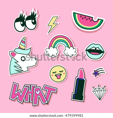 Fashion cute patches, stickers set. Vector trendy illustration.