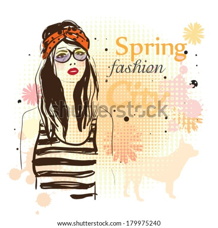 Fashion girl and spring flowers vector illustration