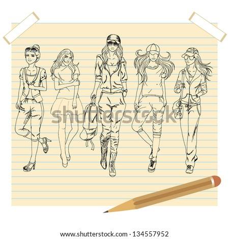 5 fashion girls  vector